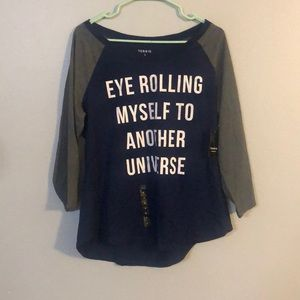 NWT Torrid Grey and Navy 3/4 Sleeve T-shirt